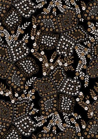 broderie: Floral seamless broderie sur un fond noir.
