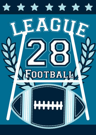 league: Football league banner with football embroidery . Illustration
