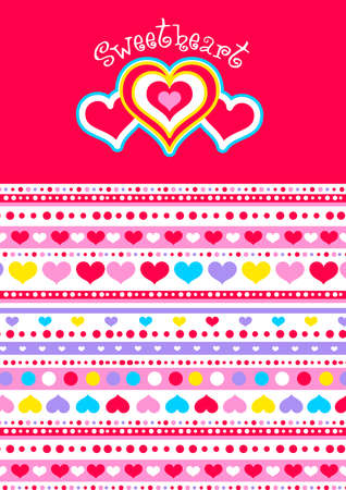 sweet heart: Sweet heart with hearts and matching striped pattern .