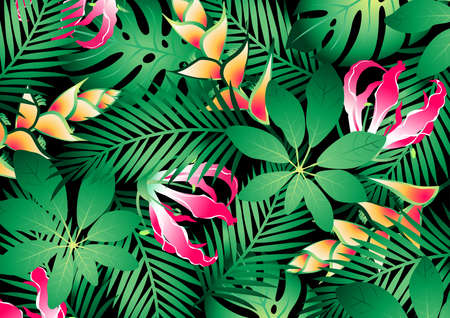tropical: Lush tropical flowers and plants background . Illustration