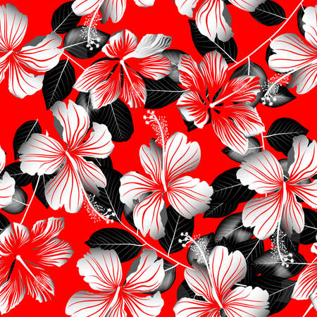 wall paper: Tropical white hibiscus flowers with black leaves seamless pattern . Illustration