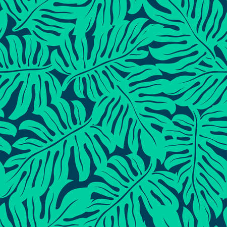 Monstera tropical leaf in a seamless pattern .