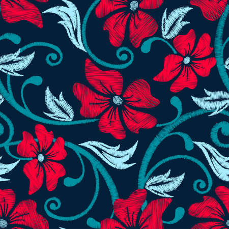 Red hibiscus tropical embroidery floral seamless pattern .
