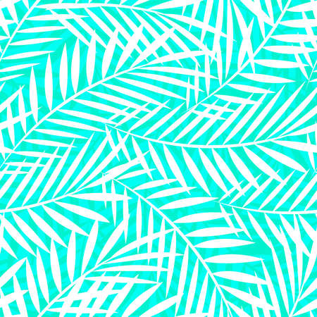 calmness: Tropical white and green palm tree leaves seamless pattern Illustration