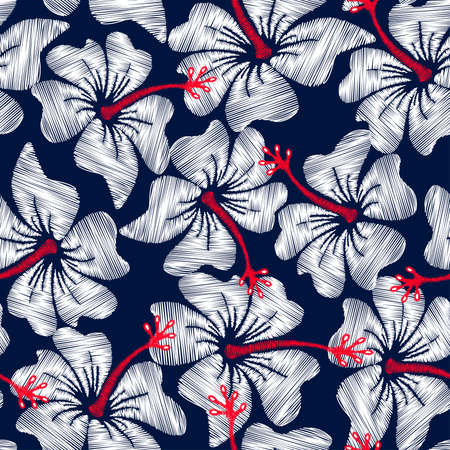 White hibiscus tropical embroidery floral seamless pattern . Vectores