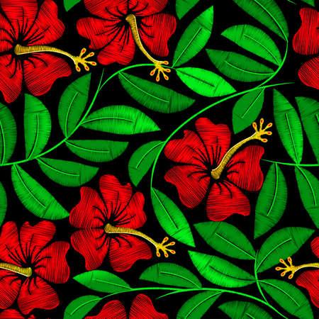 broderie: broderie Tropical hibiscus dans un pattern.