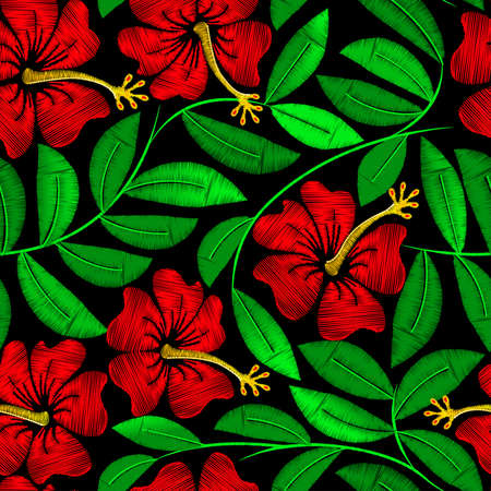 embroidery: Tropical embroidery hibiscus plant in a seamless pattern . Illustration
