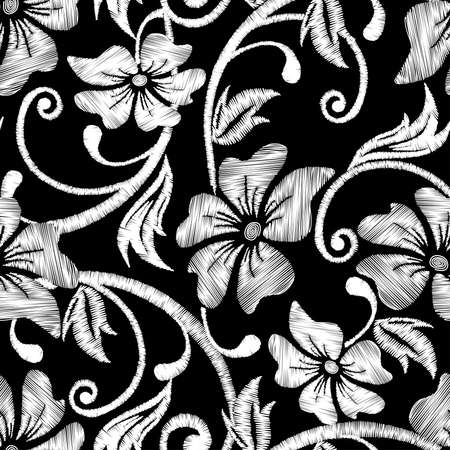 applique flower: Black and white hibiscus tropical embroidery floral seamless pattern . Illustration
