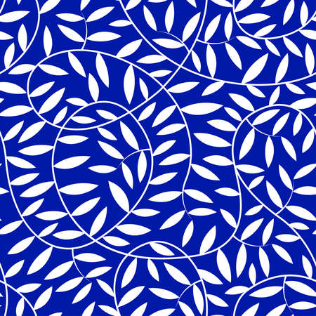 vine leaves: White vine leaves in a seamless pattern .
