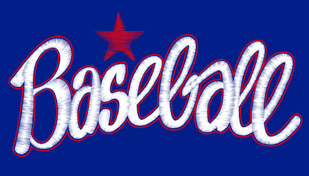 Baseball digitized machine embroidery script with star design.