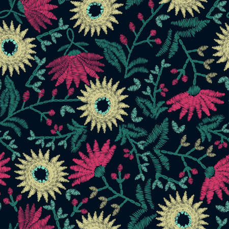 embroidery: Embroidery floral seamless pattern on navy background .