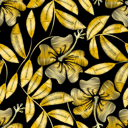 gold leaf: Tropical gold embroidery hibiscus plant in a seamless pattern .