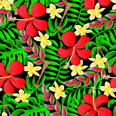 heliconia: Tropical frangipani palms and hibiscus flowers seamless pattern.
