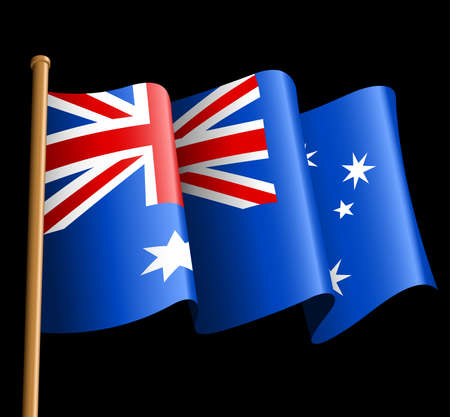 blowing: Australian flag illustration on a black background .