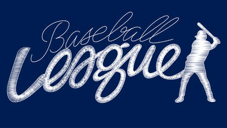 digitized: White baseball league embroidery stitching text with player .