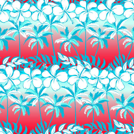 palm tree: Tropical palm tree with hibiscus flowers and palms seamless pattern .