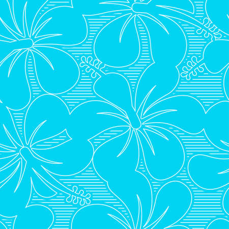 keyline: Light blue and white hibiscus lines seamless pattern .
