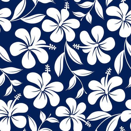 青と白の熱帯のハイビスカスの花し、葉のシームレスなパターン。