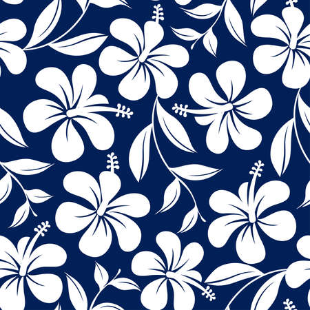 Blue and white tropical hibiscus flowers and leaves seamless pattern .