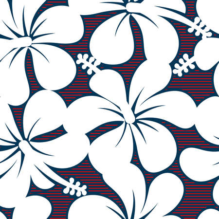 keyline: Red white and blue hibiscus lines seamless pattern .