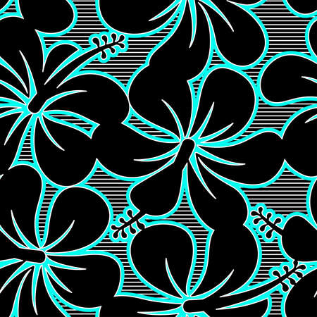 keyline: Black blue and white hibiscus lines seamless pattern . Illustration