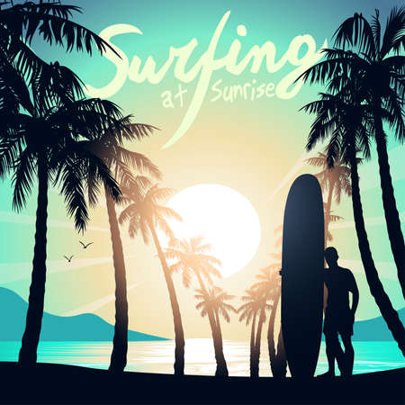 longboard: Surfing at Sunrise with a longboard surfer .