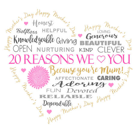 adoring: Mothers Day card in a heart shape with gold glitter effect .