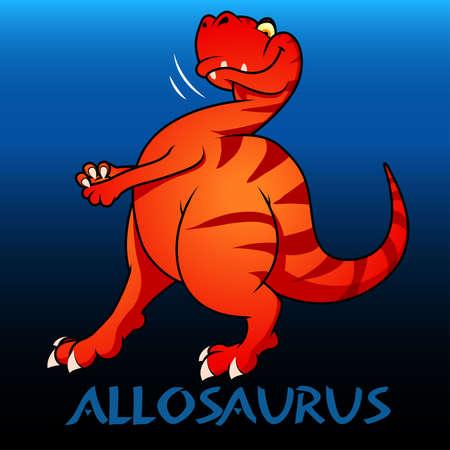 bipedal: Allosaurus cute character dinosaurs illustration .