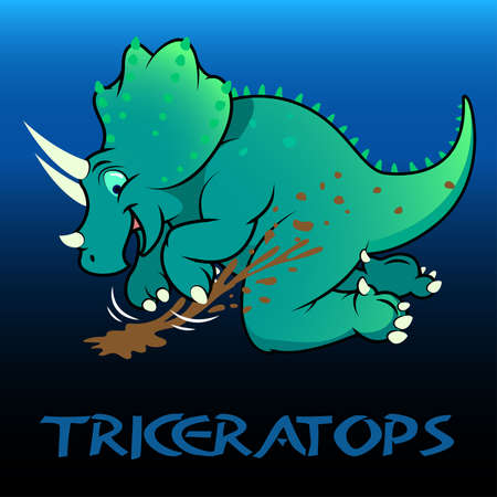 bipedal: Triceratops cute character dinosaurs .