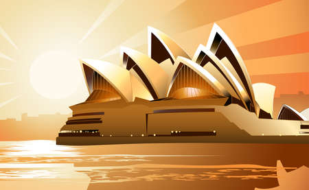 sydney: Sydney Opera House at sunrise Illustration