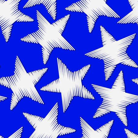 stitching: White star embroidery stitching seamless pattern . Illustration
