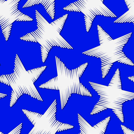 digitized: White star embroidery stitching seamless pattern . Illustration