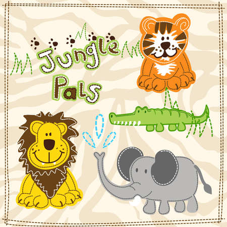 embroidery: Cute African wild animals embroidery illustrations . Illustration