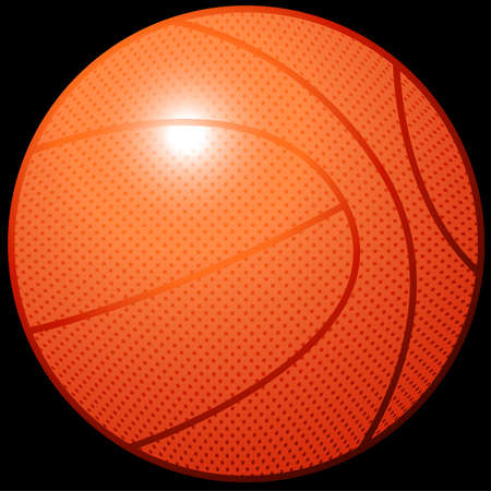sports equipment: Orange 3D basketball sports equipment on black background .