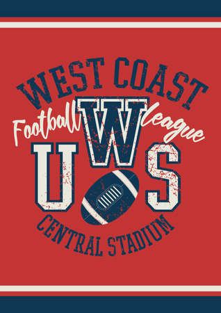 league: West Coast football league jersey poster . Illustration