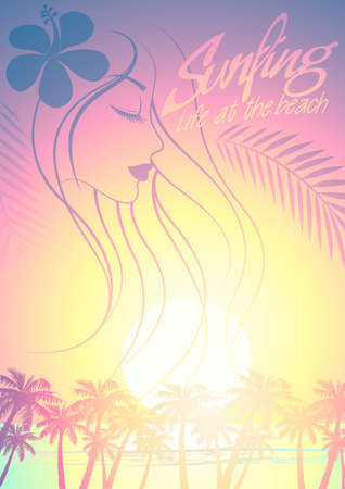beach side: Tropical surfing beach girl with palm trees at sunset.