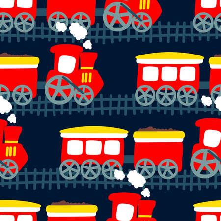steam train: Little steam train in a seamless pattern .