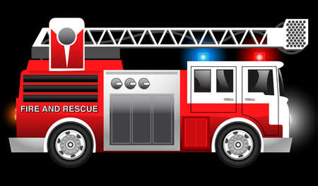 sideview: 3D illustration of a Red Fire and Rescue truck with flashing lights .