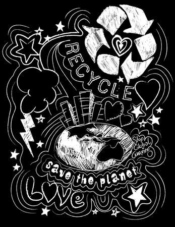 zero emission: Recycle save the planet black and white illustration .