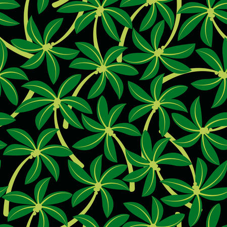 leaf pattern: Curved tropical coconut palm tree seamless pattern  .
