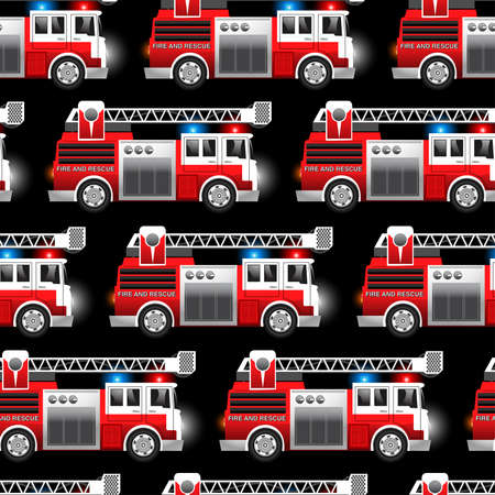 fire engine: 3D illustration of a Red Fire and Rescue truck seamless pattern . Illustration