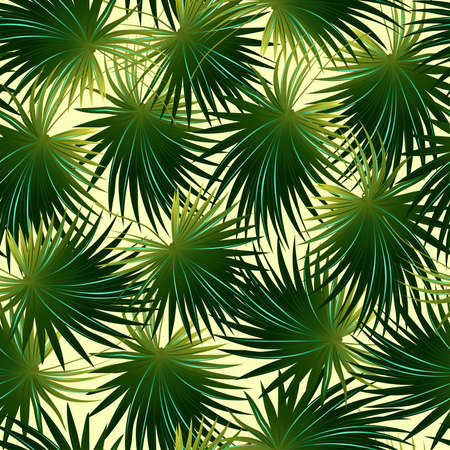 thatch: Tropical cabbage palm leaf in a seamless pattern .
