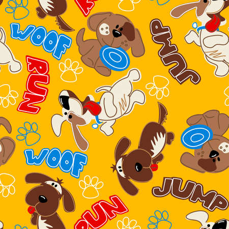 panting: Cute puppy dogs in a seamless pattern . Illustration