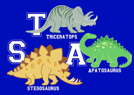 s horn: Dinosaurs letters Triceratops, Apatosaurus and Stegosaurus .