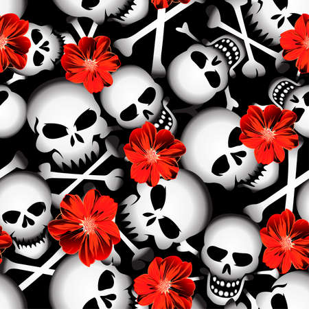 Skulls with red flowers seamless pattern . Фото со стока - 58704860