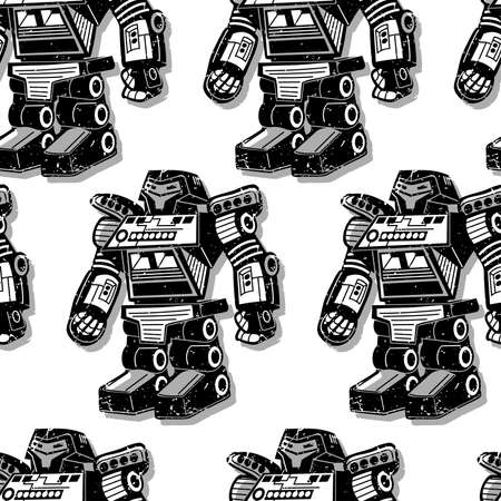 cool boys: Black robot warrior seamless pattern . Illustration