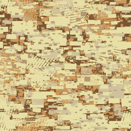 special forces: Camouflage desert disruptive block khaki seamless pattern . Illustration