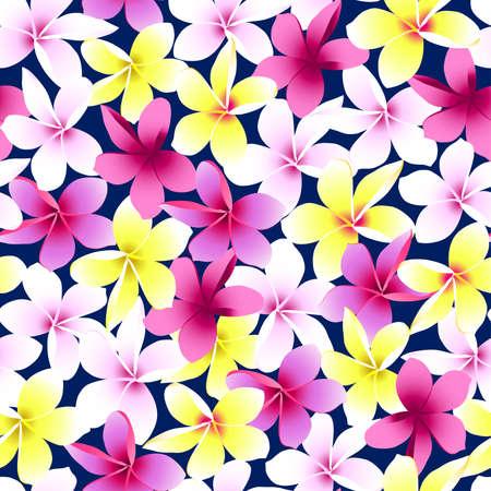 pink plumeria: Tropical colorful frangipani plumeria flower seamless pattern .