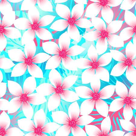 pink plumeria: Pink and aqua Plumeria and Hibiscus floral seamless pattern . Illustration