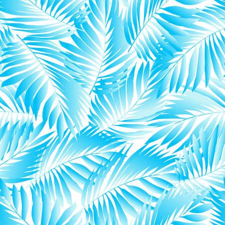Tropical aqua leaves in a seamless pattern .